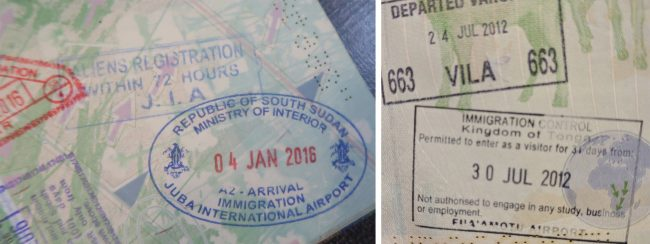 Passport stamps for South Sudan and Tonga
