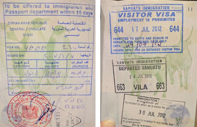 Passport stamps for Syria and Vanuatu