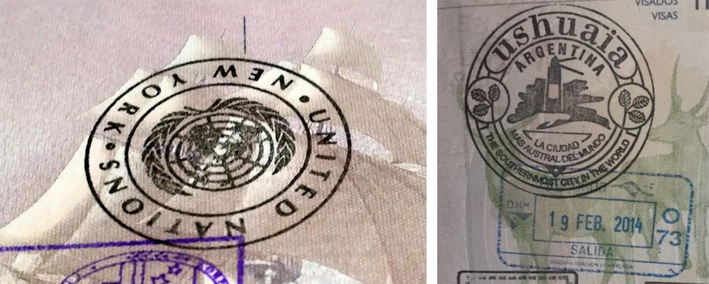 Passport stamps for United Nations and Ushuaia