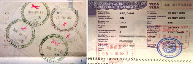 Passport stamps for Angola and Azerbaijan