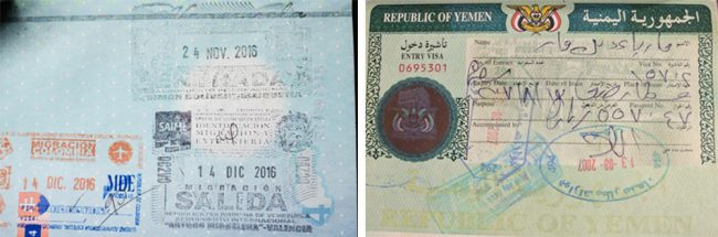 Passport stamps for Venezuela and Yemen