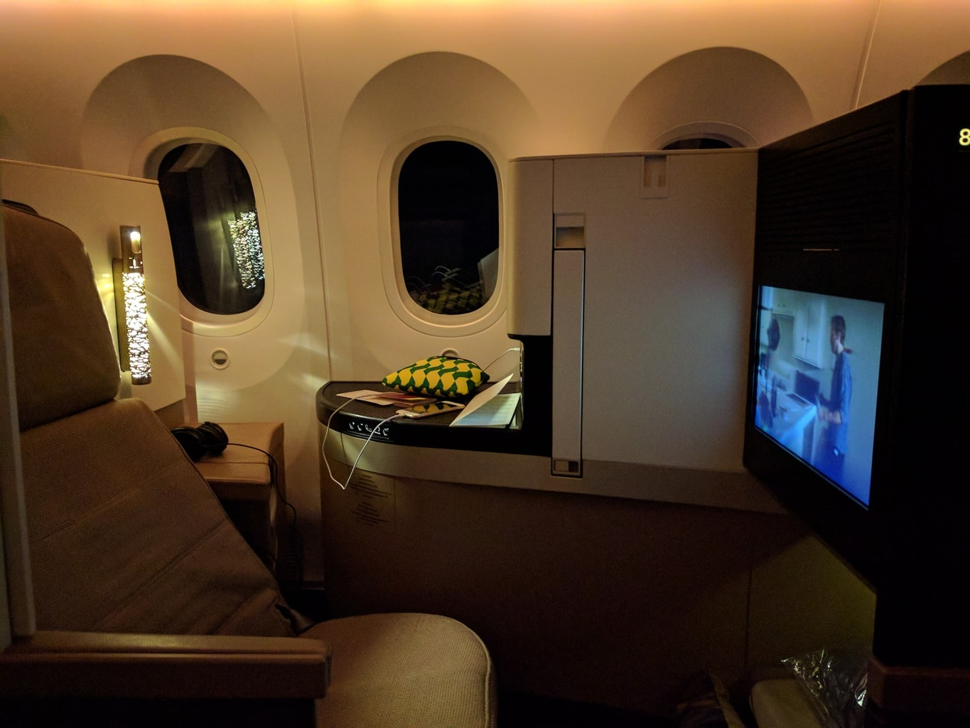My seat on the Etihad A380 in Business Class
