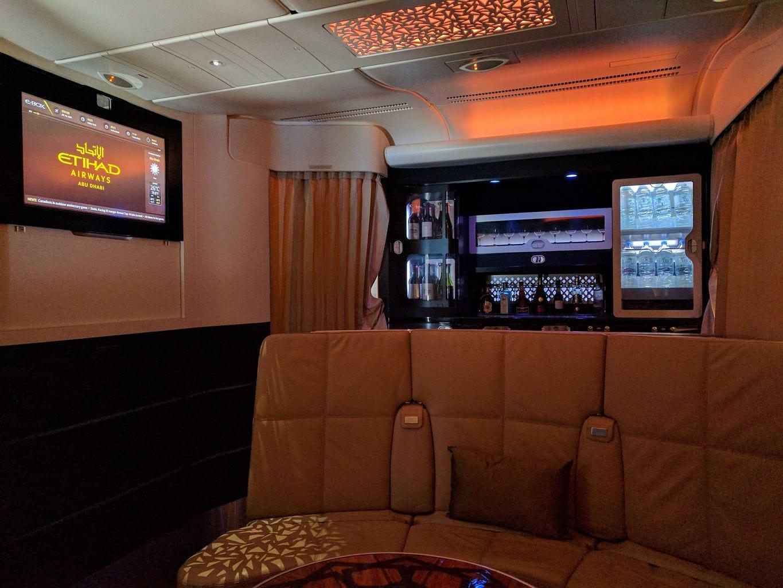 Bar area on board the Etihad A380 Business Class