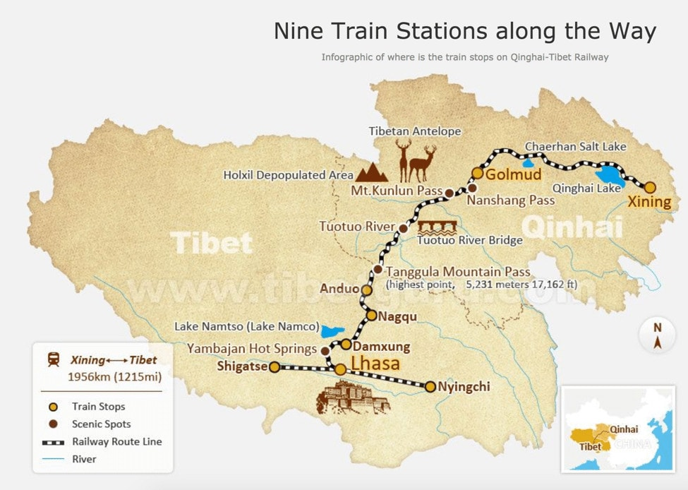 Train stations from Xining to Lhasa