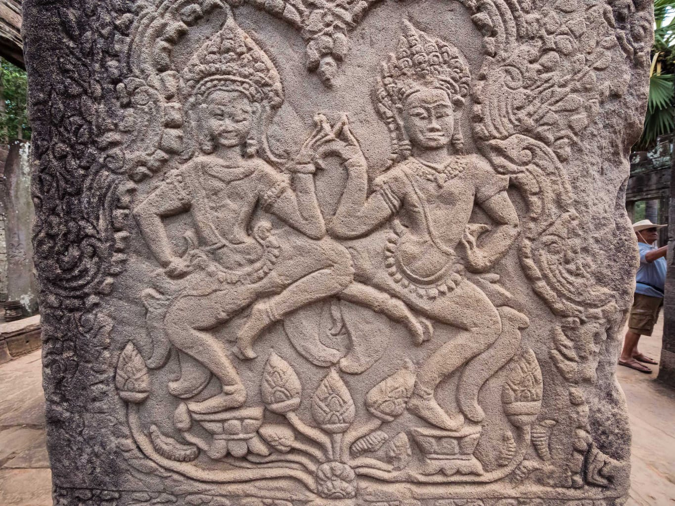 Apsara dancers on the bas relief