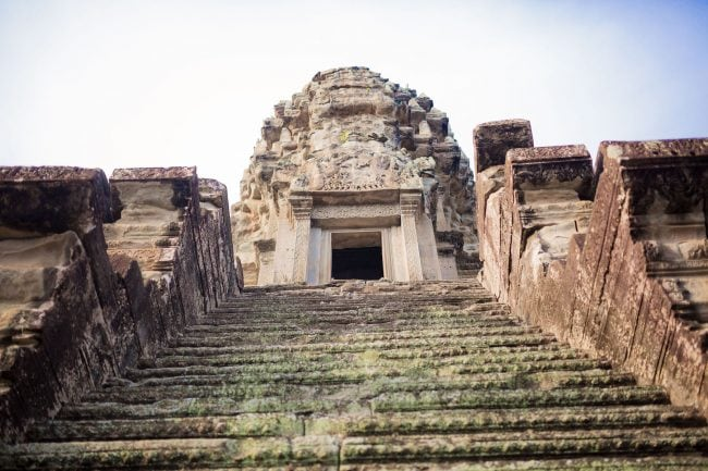 Steep stairs to Angkor