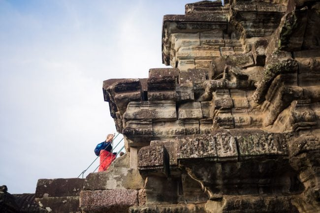 Climbing up to the top of Angkor Wat