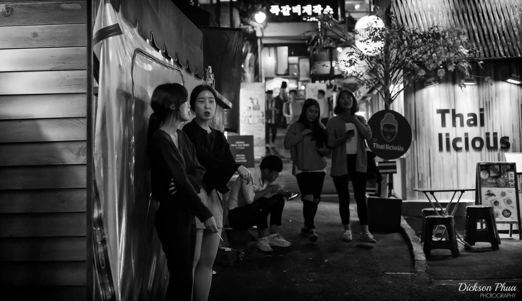 Having a smoke break in the back alleys of Itaewon