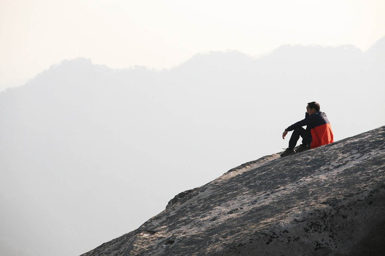 Lone hiker on Bukhansan Mountain