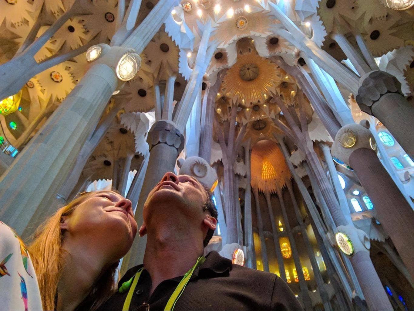 Looking up at Sagrada Familia