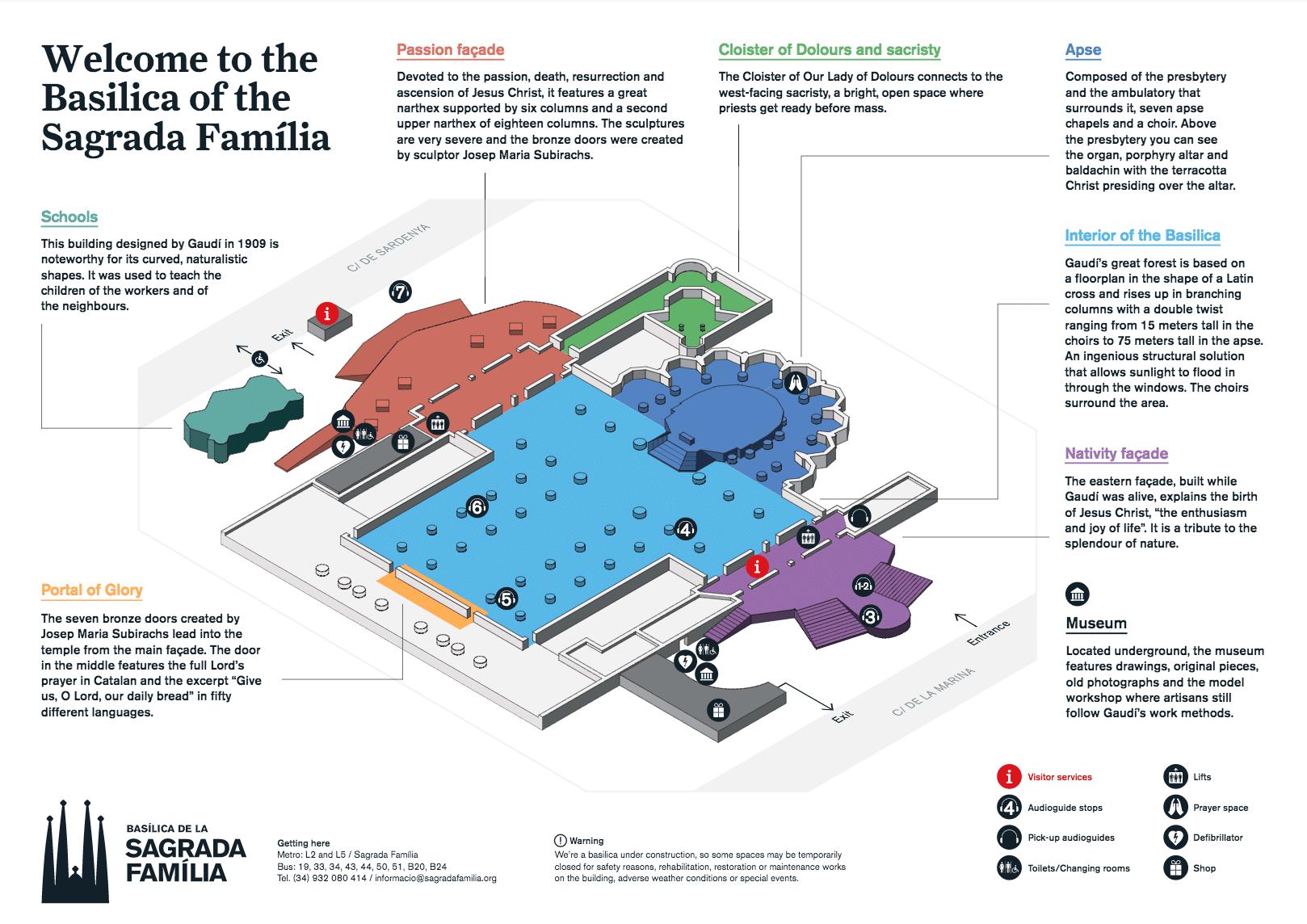 Map of Sagrada Familia - Courtesy of the Sagrada Familia Foundation