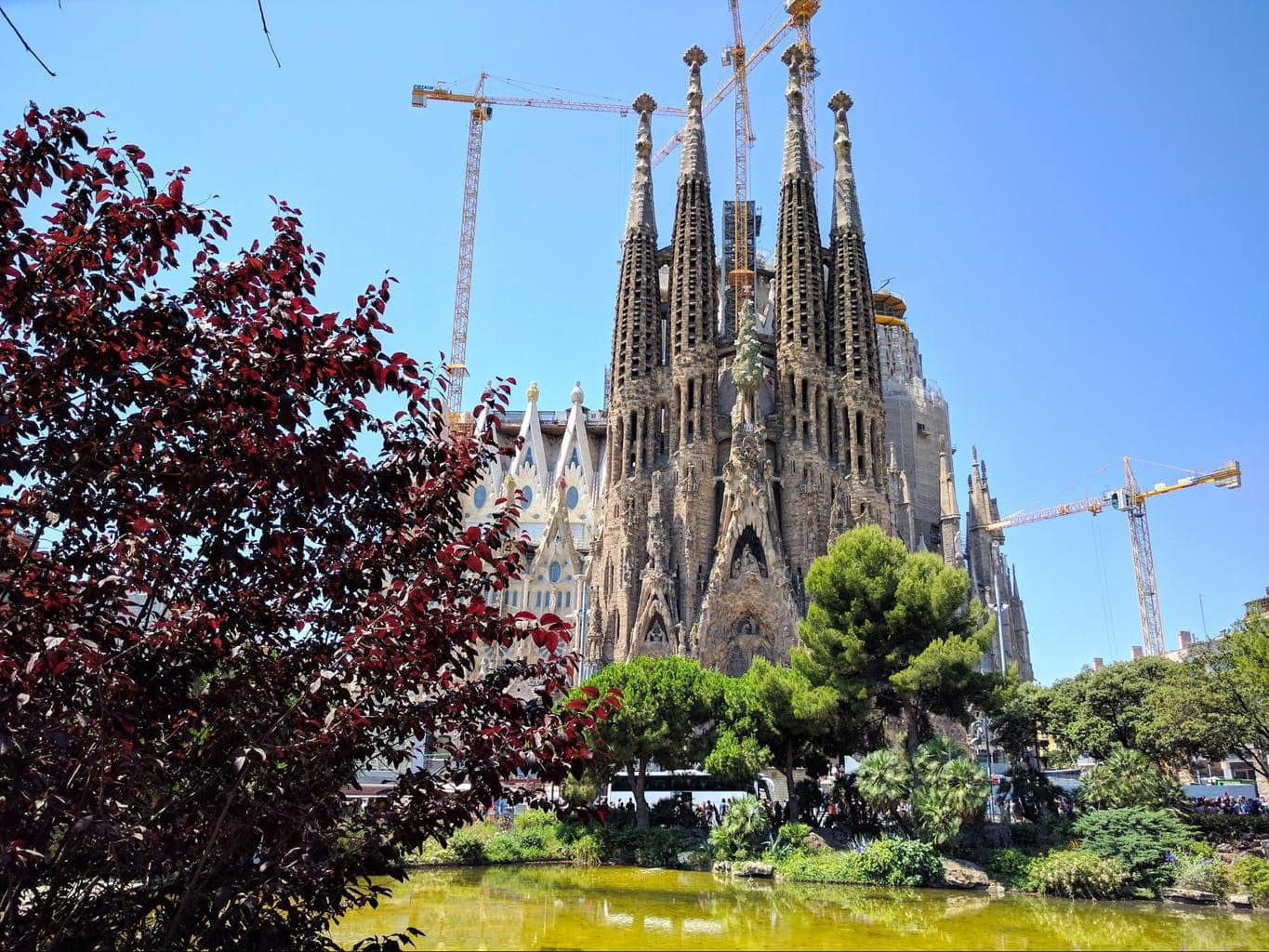 Sagrada Familia viewed from the park