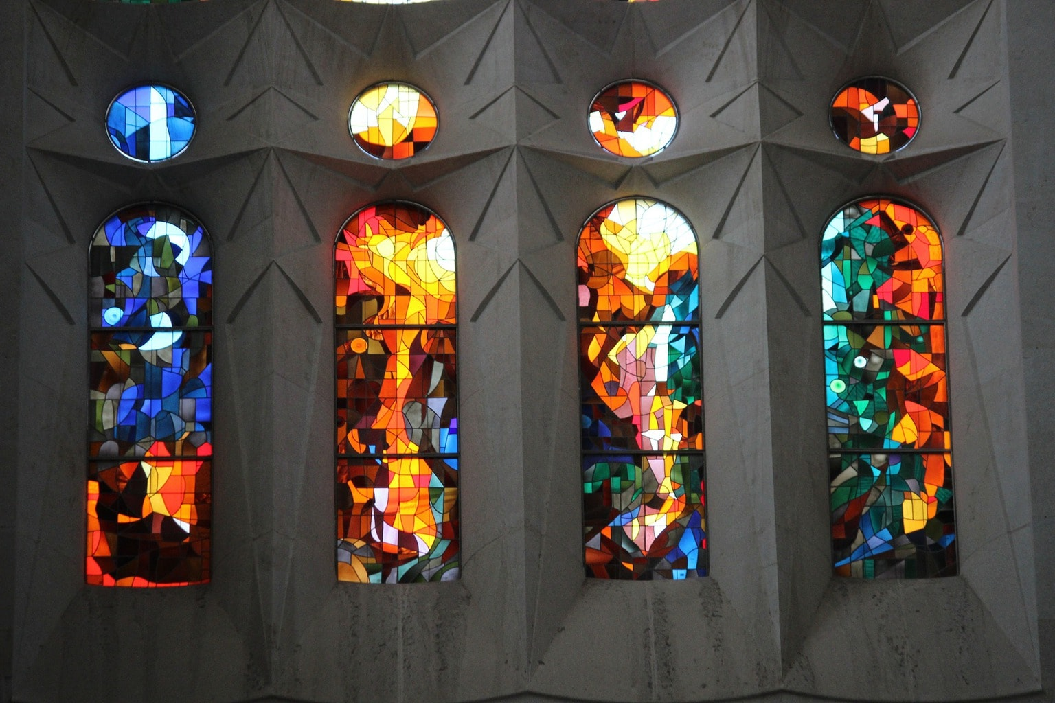 The colourful stained glass