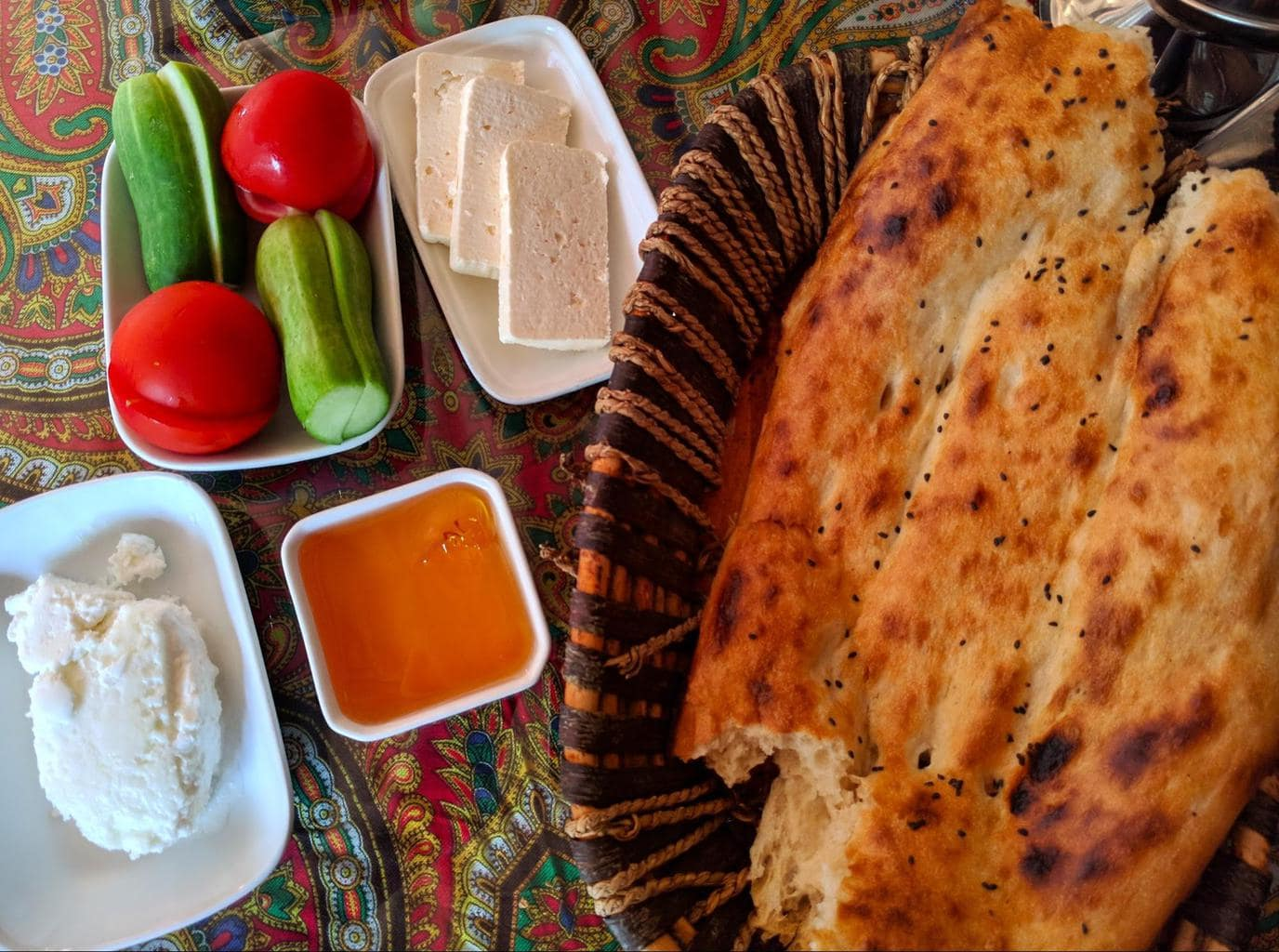 Typical Azerbaijan breakfast