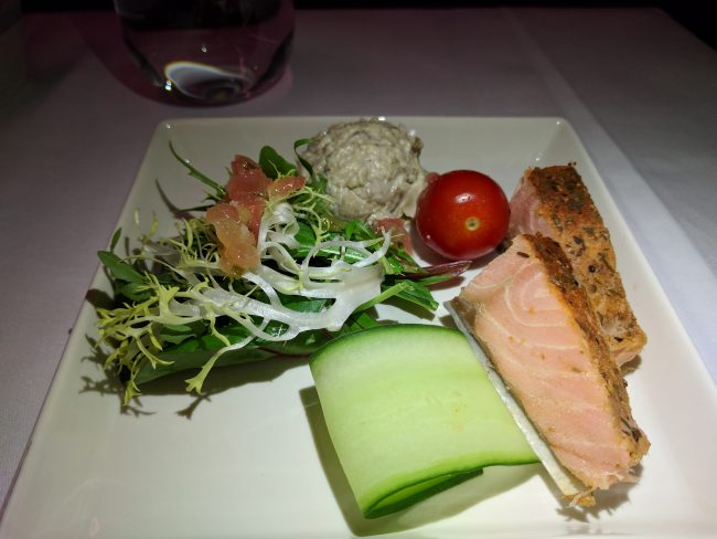 Singapore Airlines Business Class Salmon