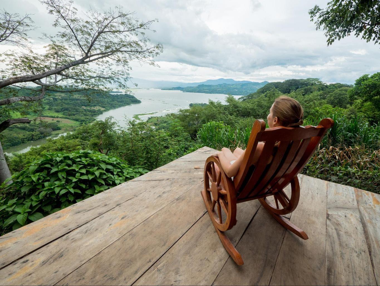Rocking chair view of Suchitoto lake