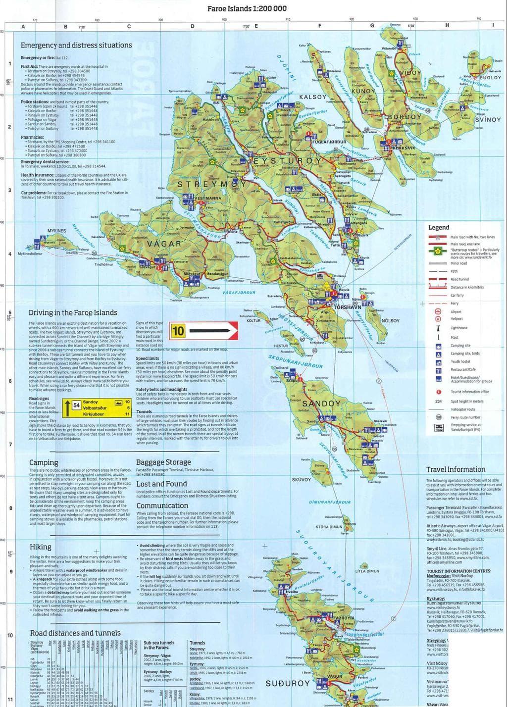 Faroe Islands road trip map