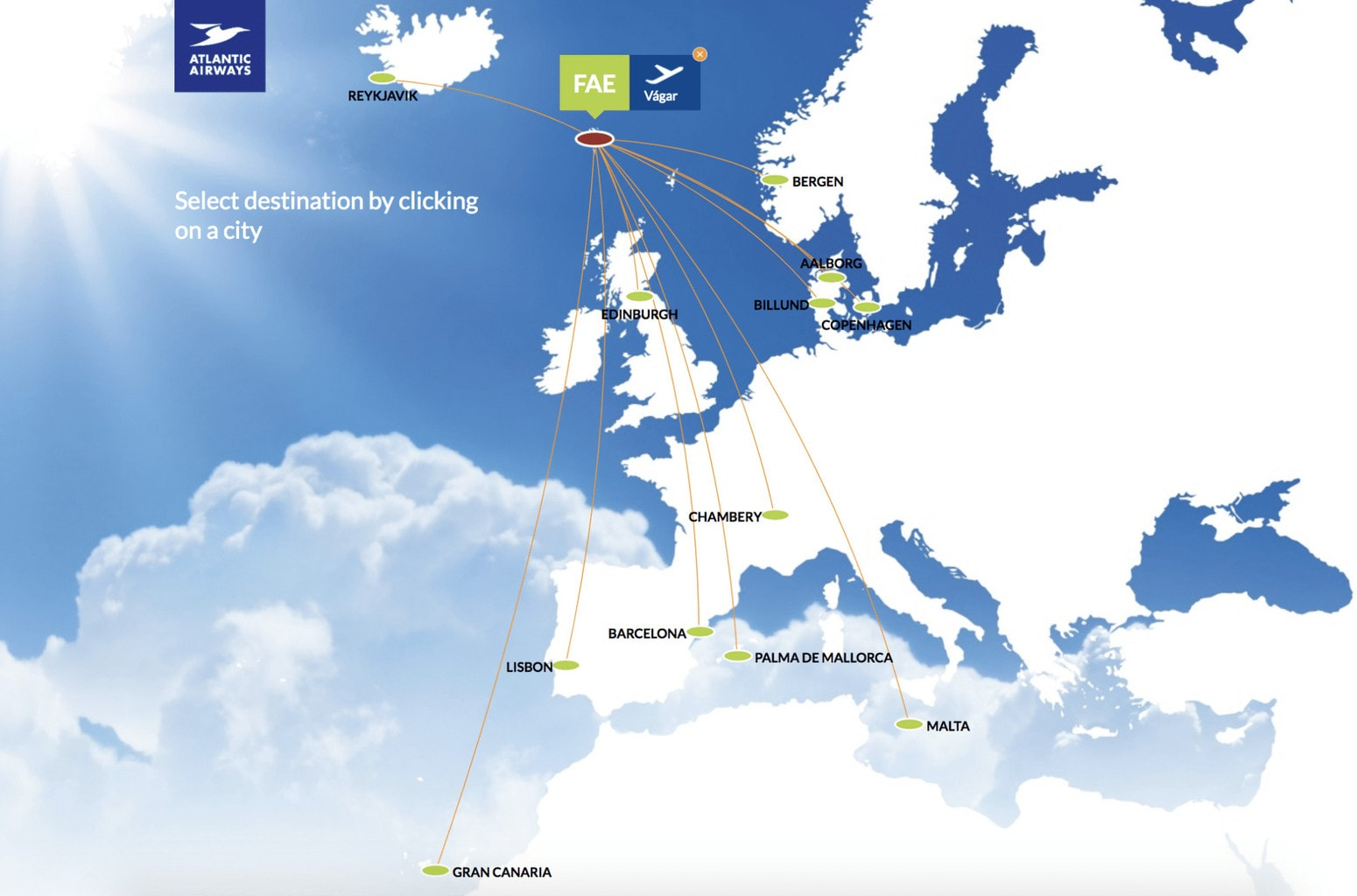 Route map from Atlantic Airways