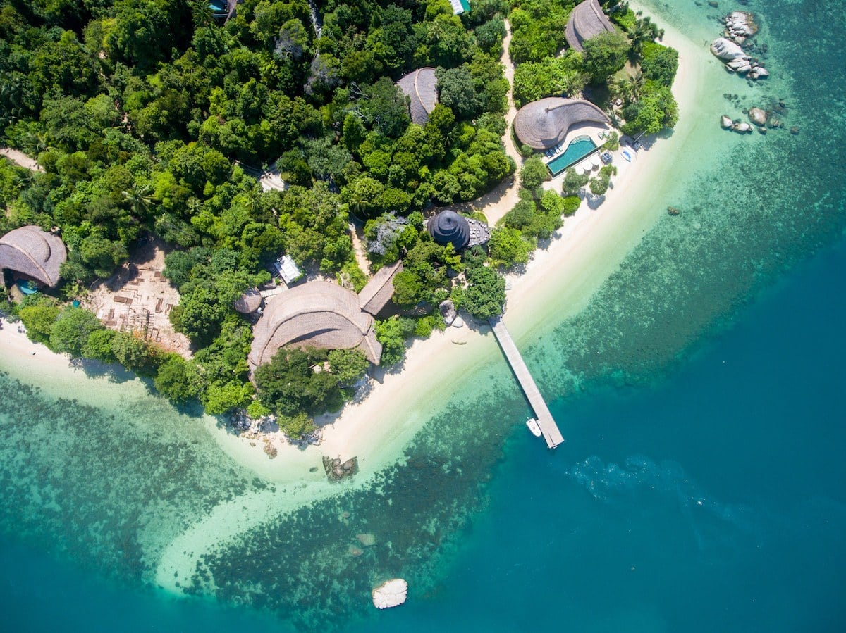 Cempedak Private Island pool villas and beach
