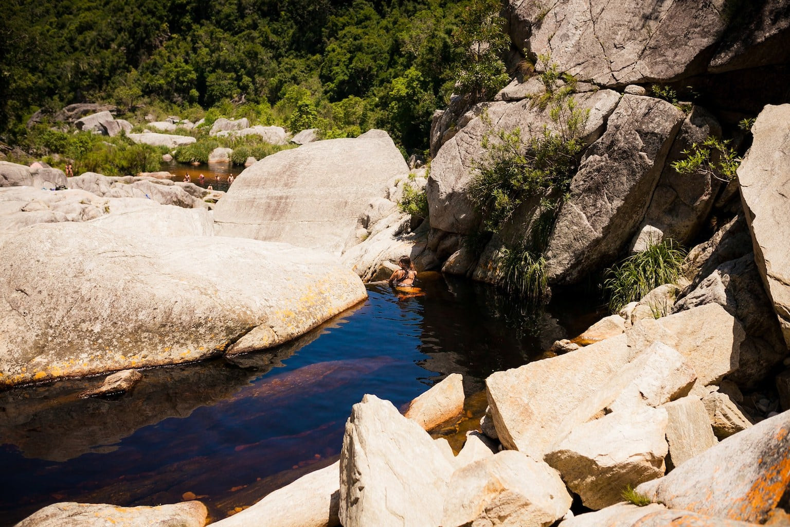 Swimming at the waterfall on the Kingfisher trail