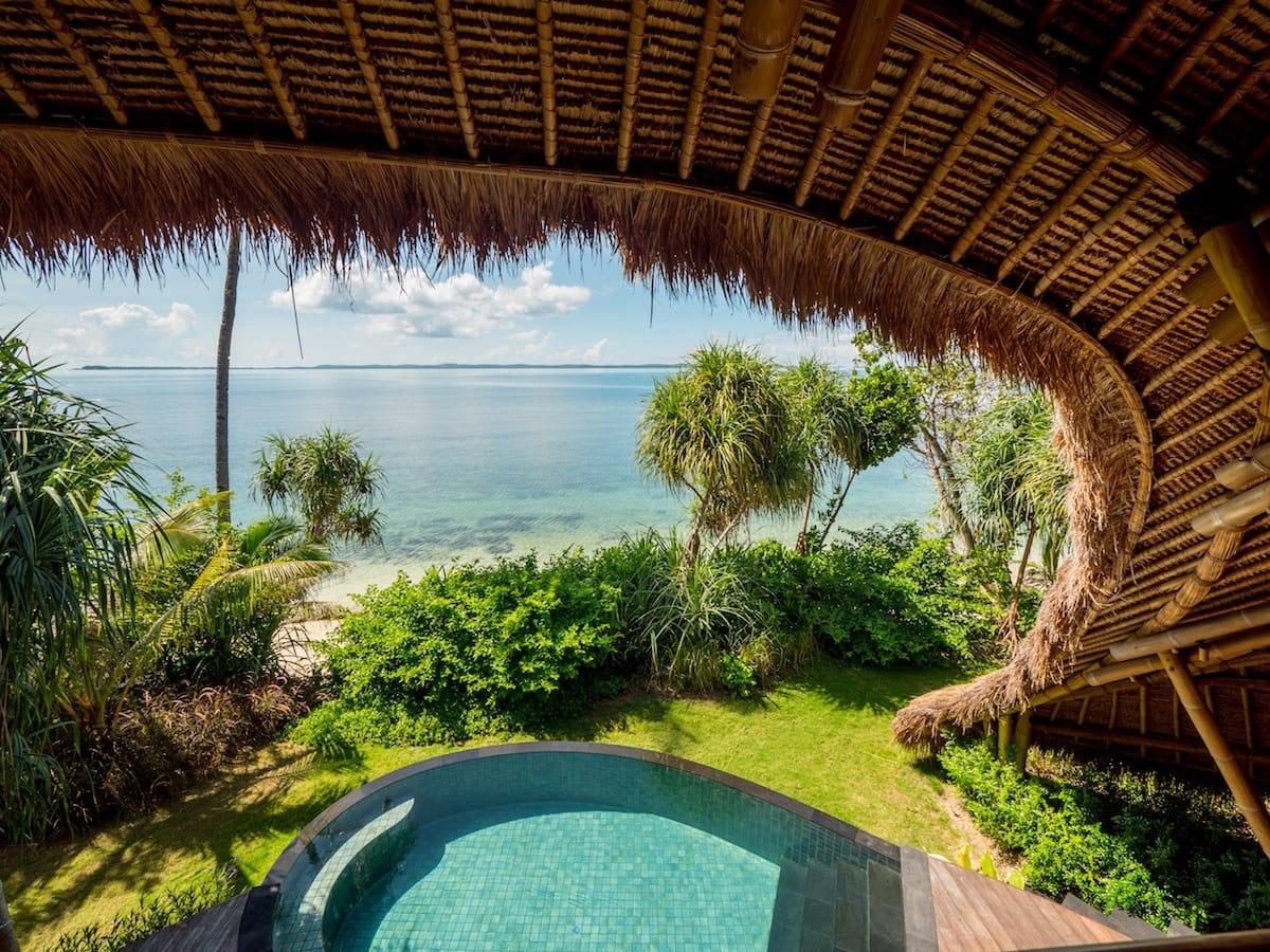 View from my pool villa on Cempedak Island