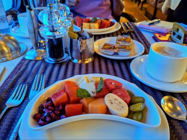 Fruits for breakfast on the Golden Chariot