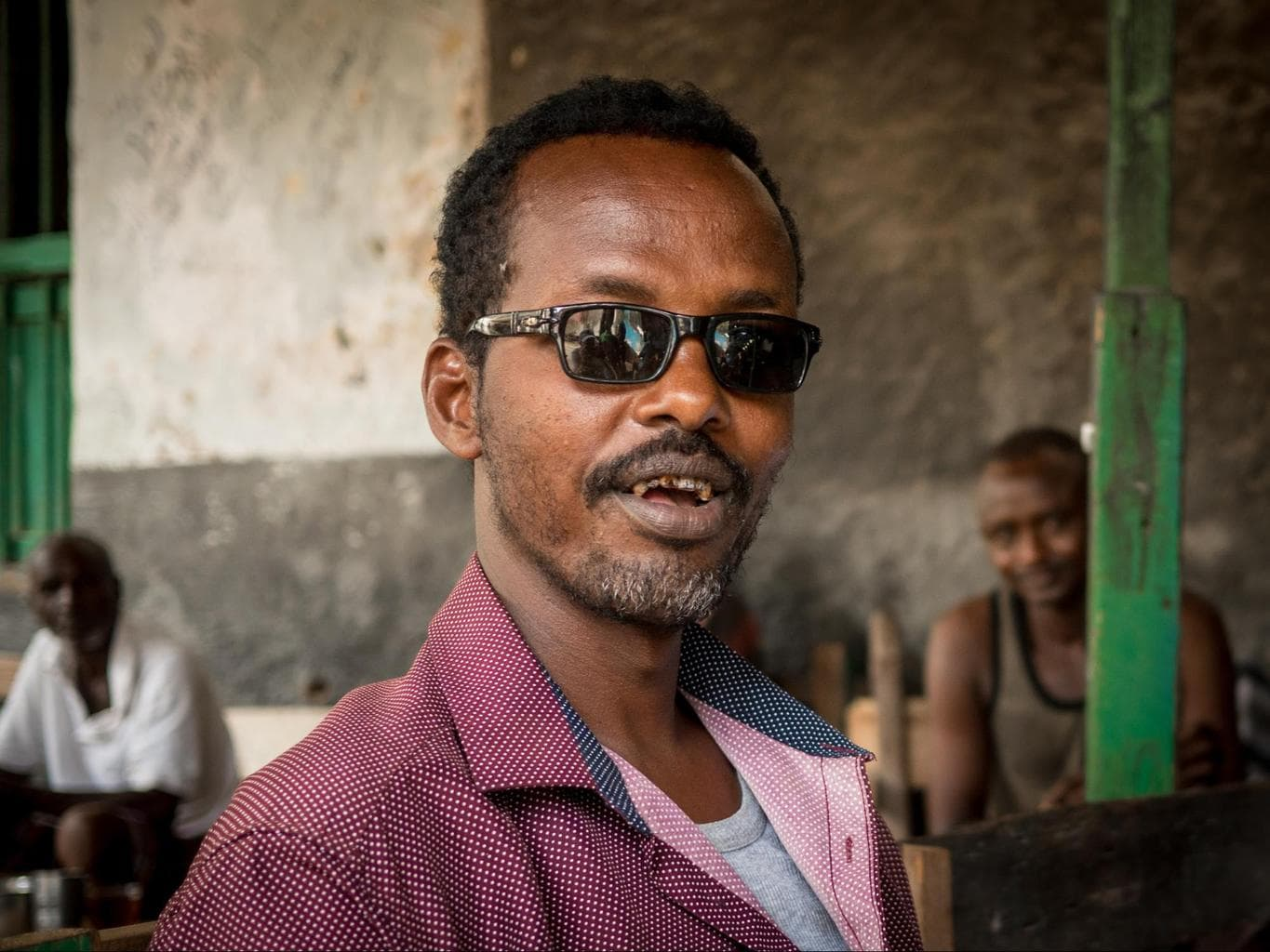 A mean looking Somalilander curious to chat with us at a tea house
