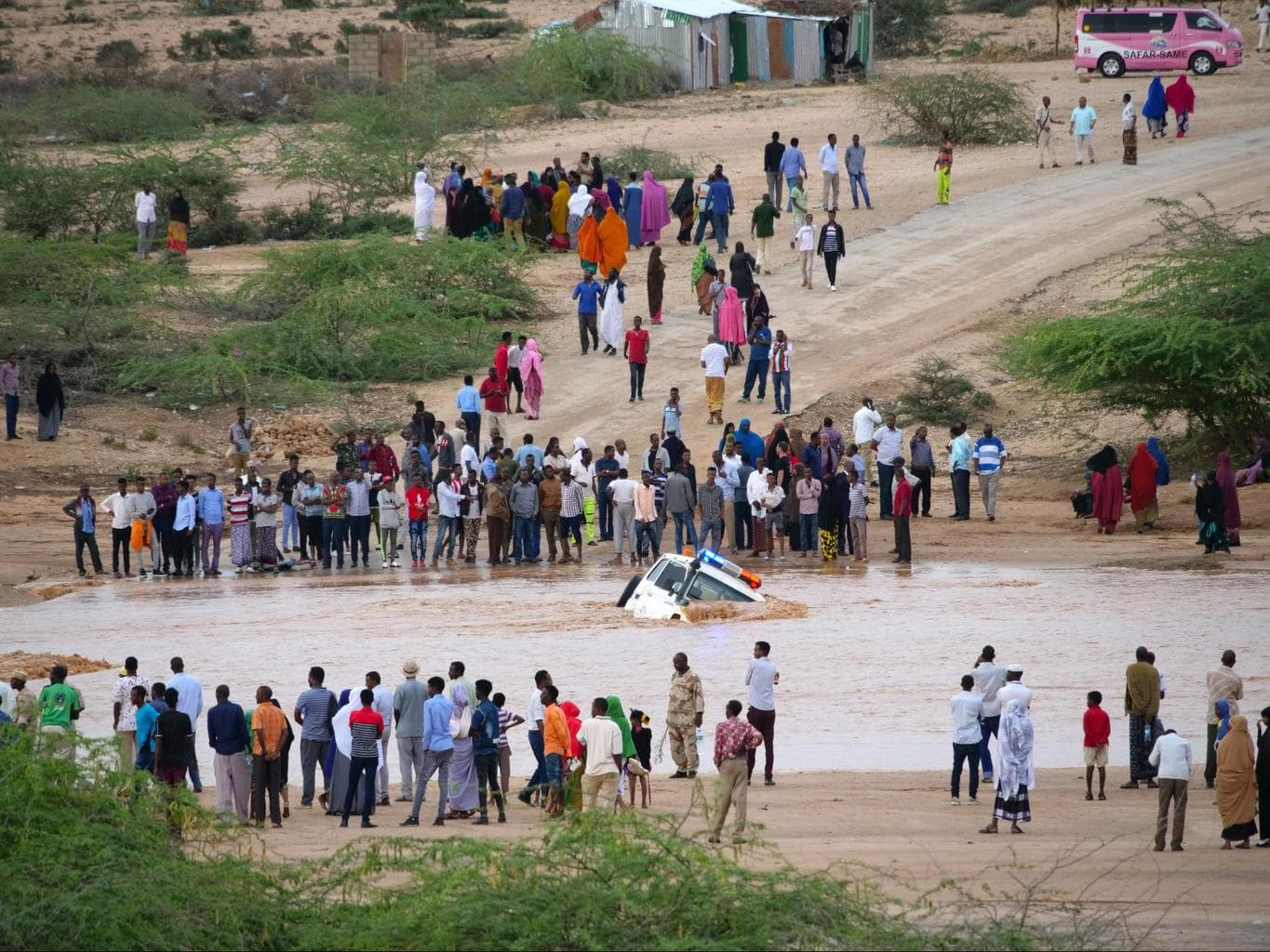Flooded wadi cuts the road Hargeisa-Berbera. An ambulance get stuck in the gushing water