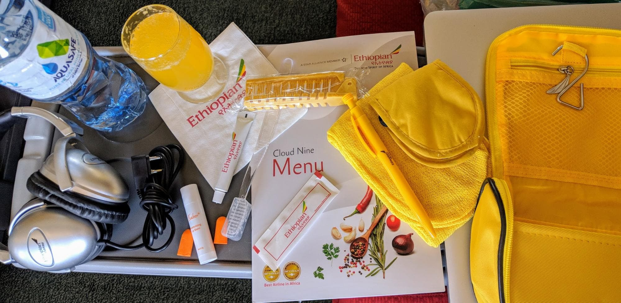 Inside the Business Class amenity kit for Ethiopian Airlines