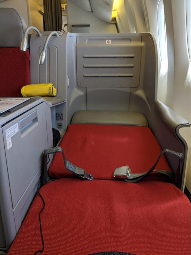 Laying back on the Business Class seat on Ethiopian Airlines B777-300