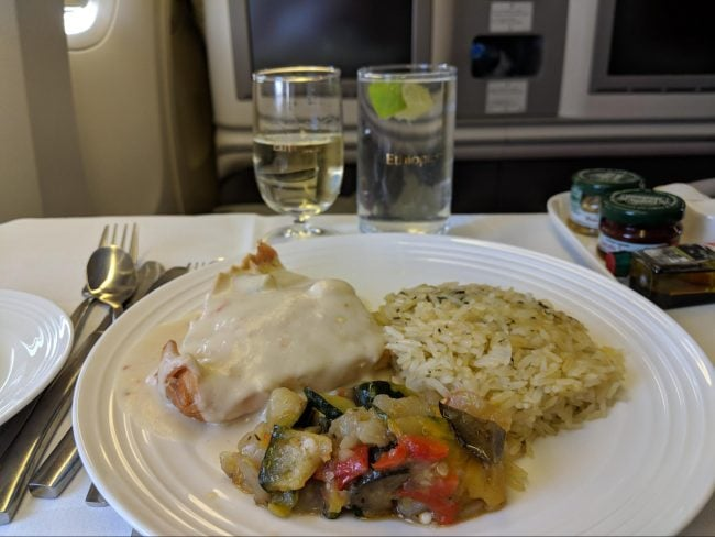 Lunch on Ethiopian Airlines Business Class