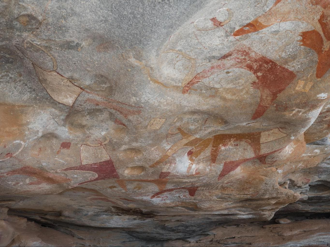 The rock paintings in one of the shelters of Laas Geel