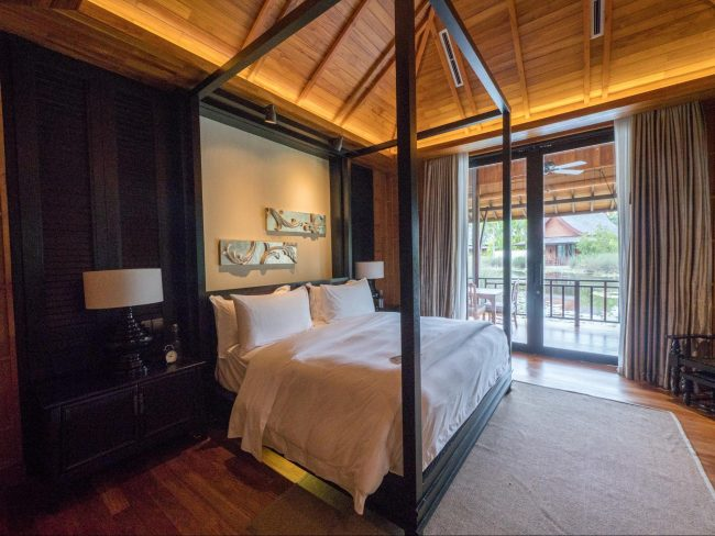 Bed at the Lawan villa at The Sanchaya