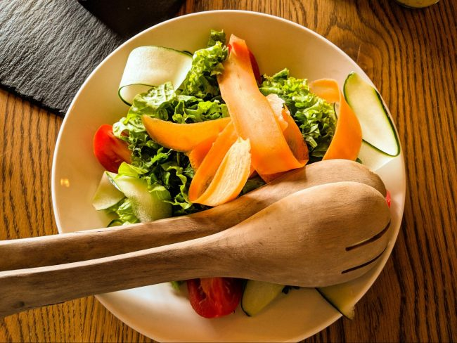 Homemade garden salad at Bisate Lodge