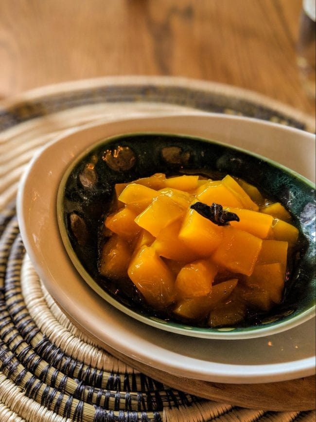 Local poached mangoes at Bisate lodge