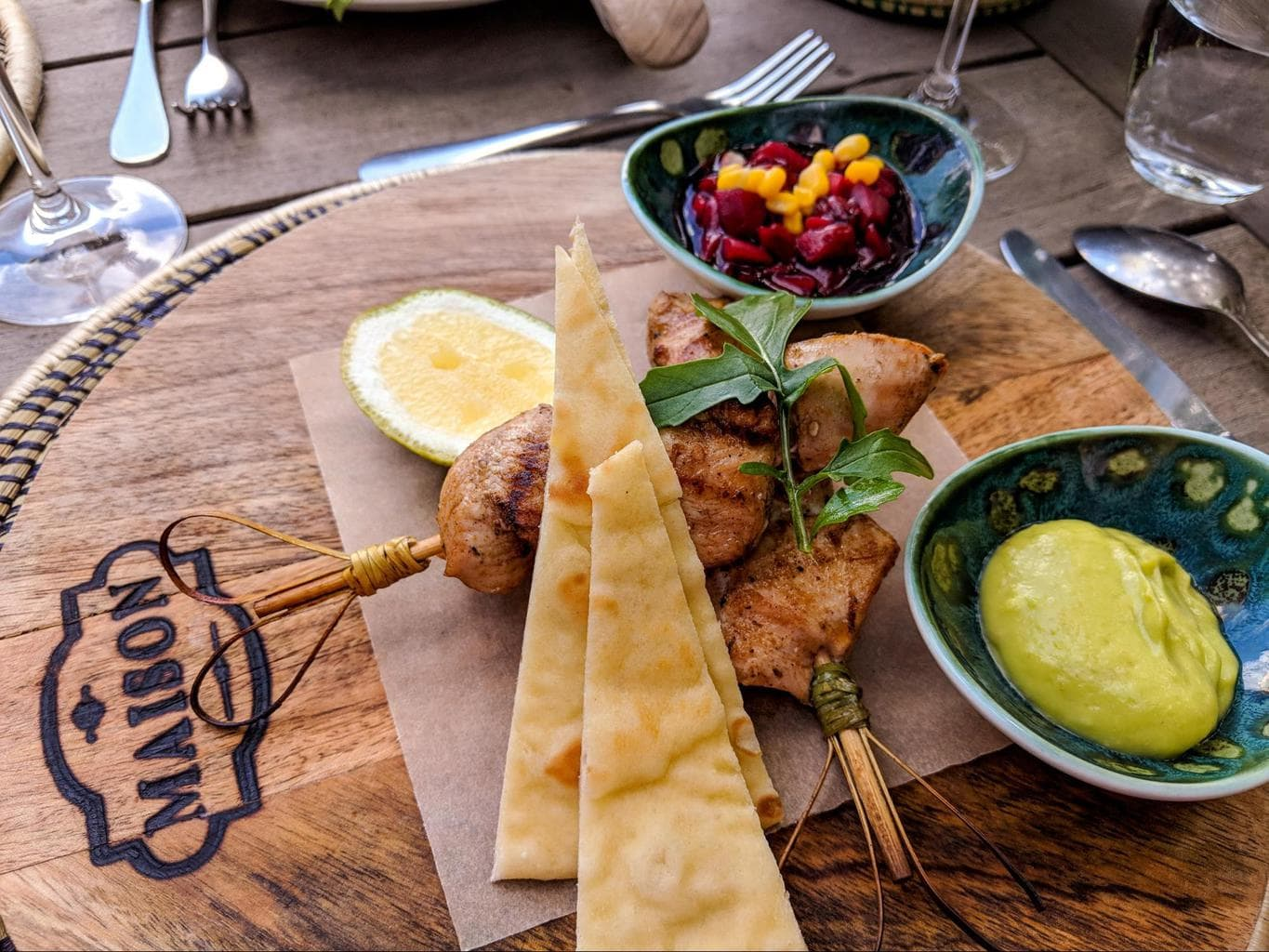 Skewers with guacamole and salsa at Bisate Lodge
