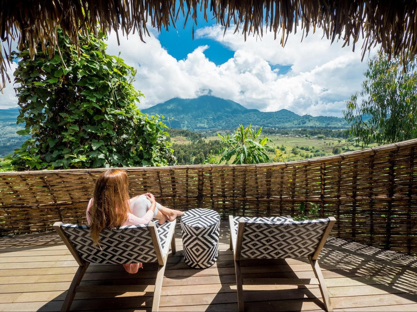 The outdoor balconies at Bisate Lodge