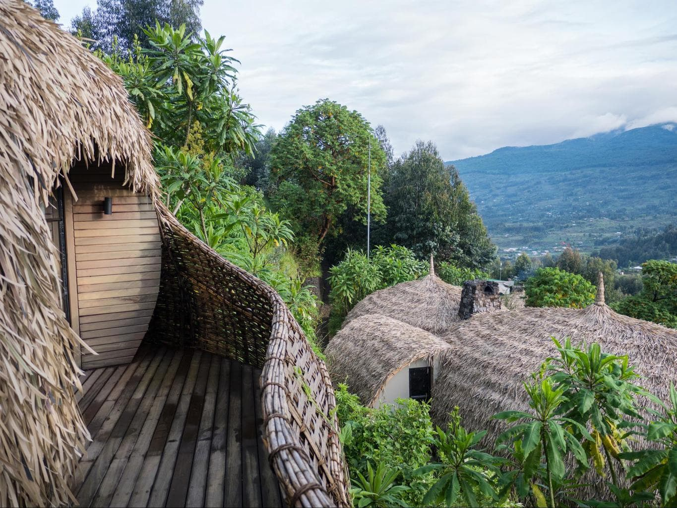 The villas at Bisate Lodge perched on the volcano's edge