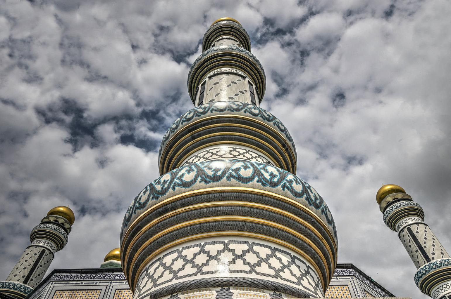 Gold domed minarets at Jame'Asr Hassanil Bolkiah Mosque