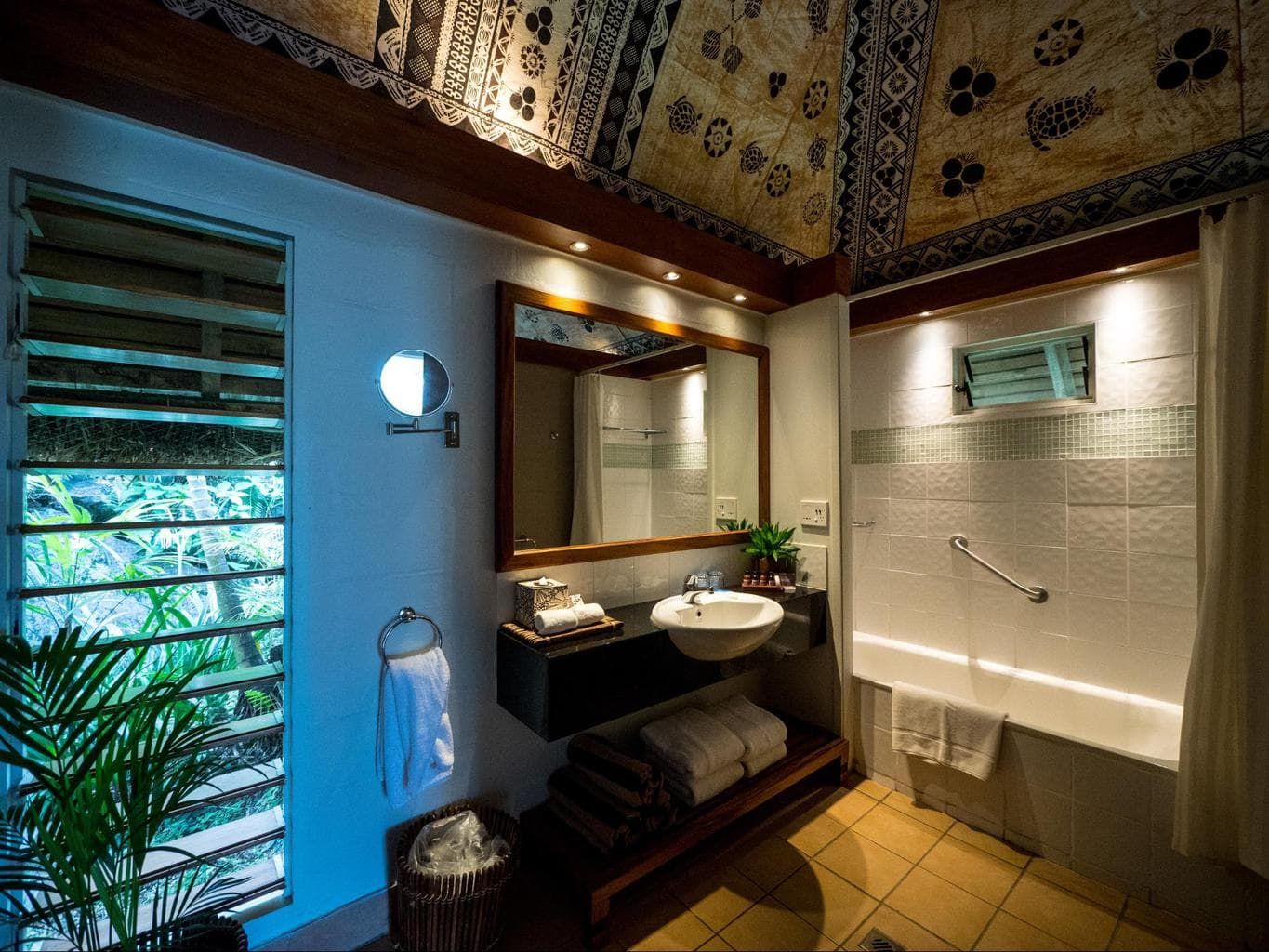The bathroom in the plantation bure at Outrigger Fiji Beach Resort