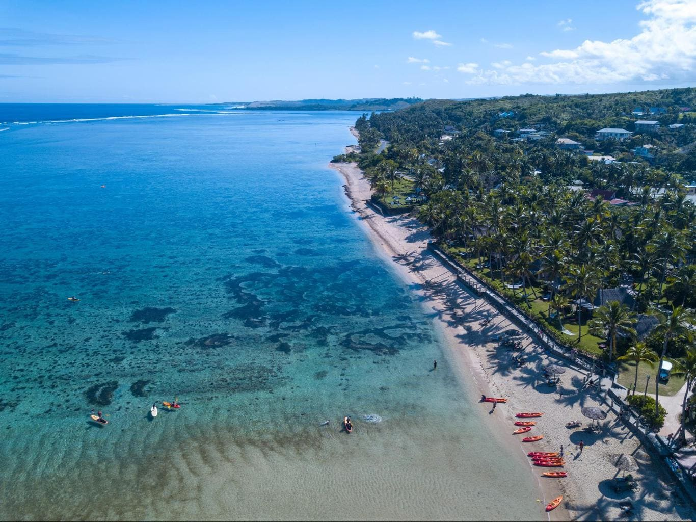 The beach at Outrigger Fiji Beach Resort from the sky