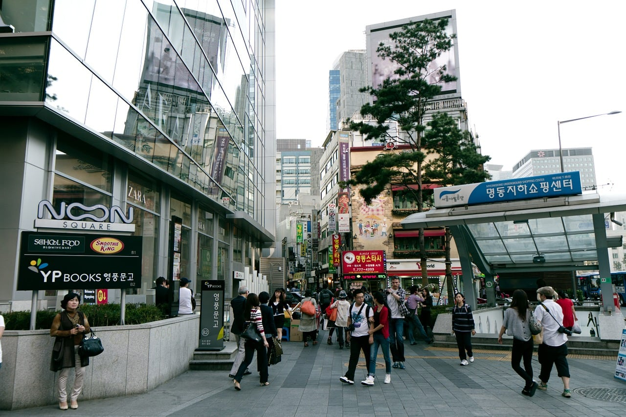 The entrance to Myeongdong