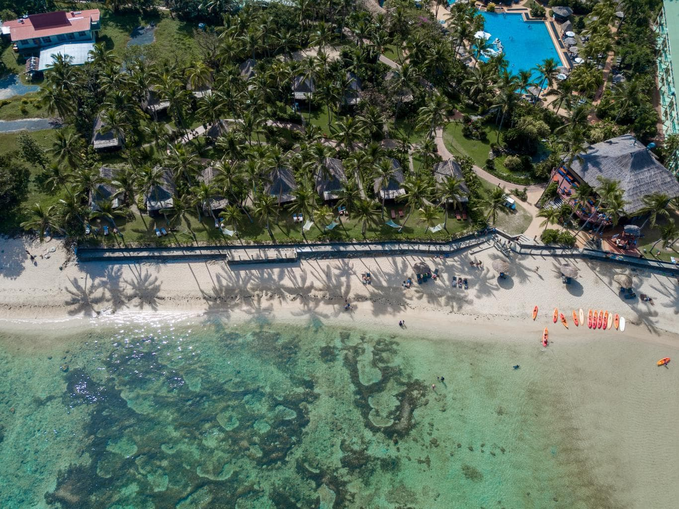 Water activities galore at the beach of Outrigger Fiji Beach Resort