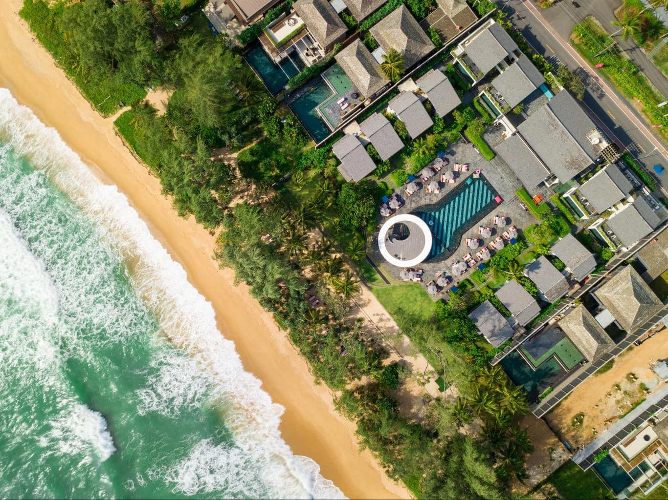 Aerial shot of Baba Beach Club Phuket