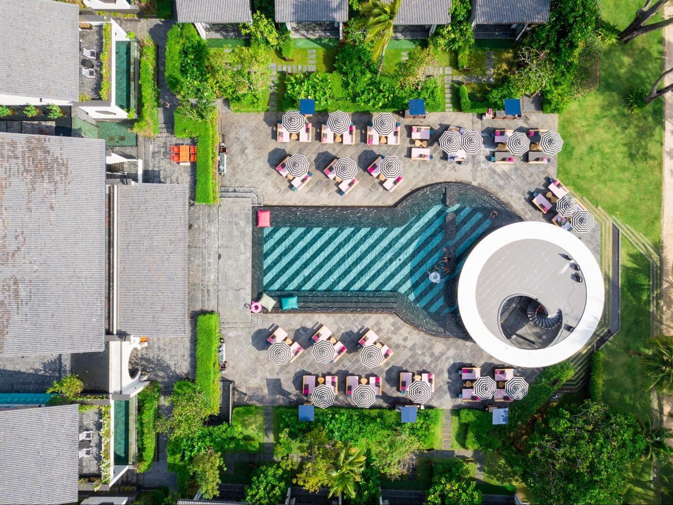 Aerial shot of main building and pool Phuket