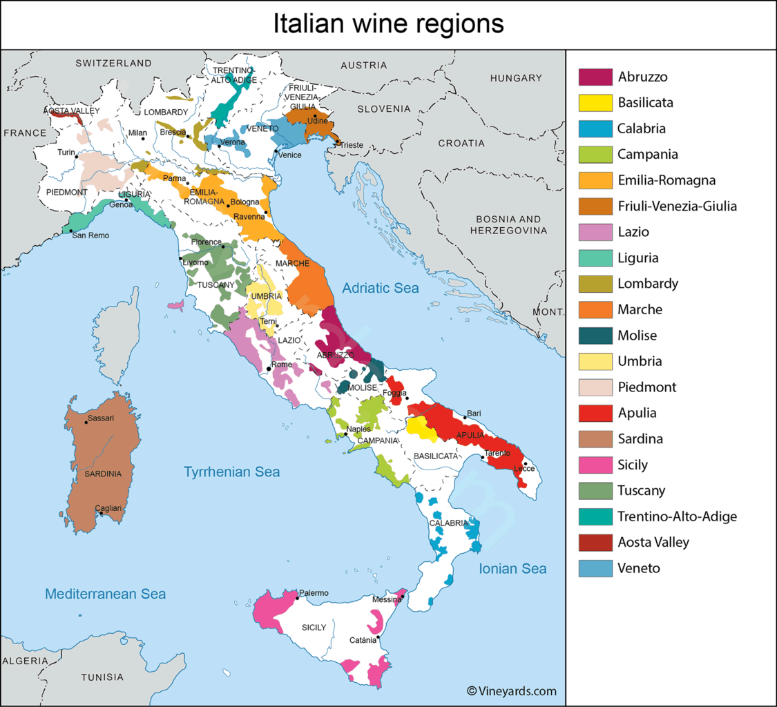 Fantastic map of the wine regions of Italy