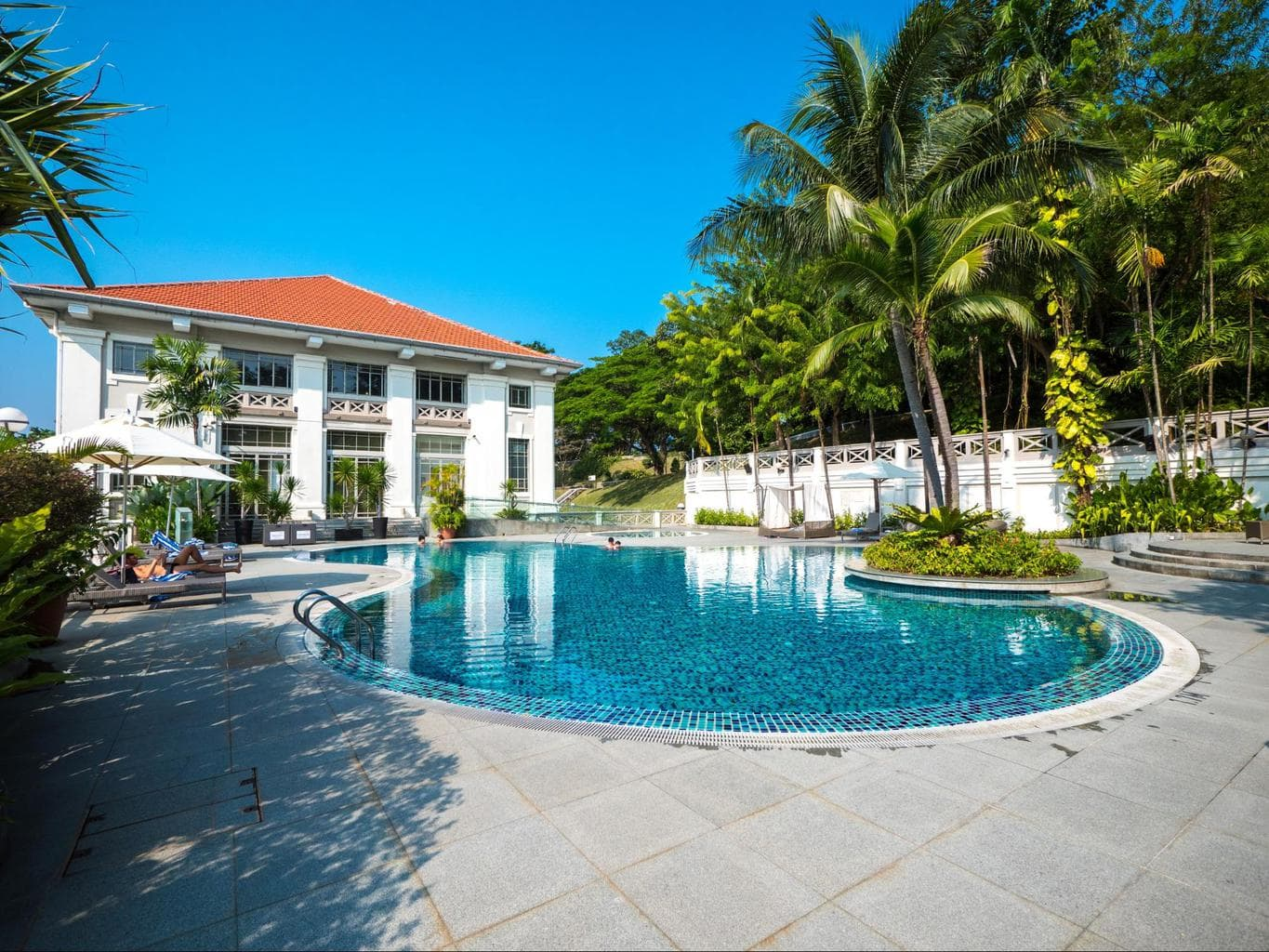 One of the two pools at Hotel Fort Canning