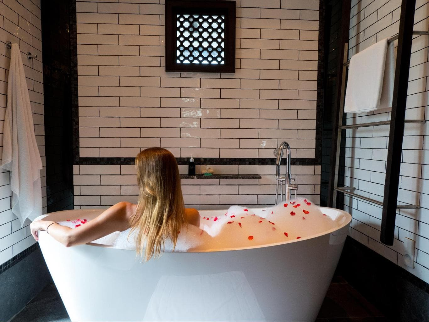The butler-prepared bubble bath at Baba Beach Club Phuket
