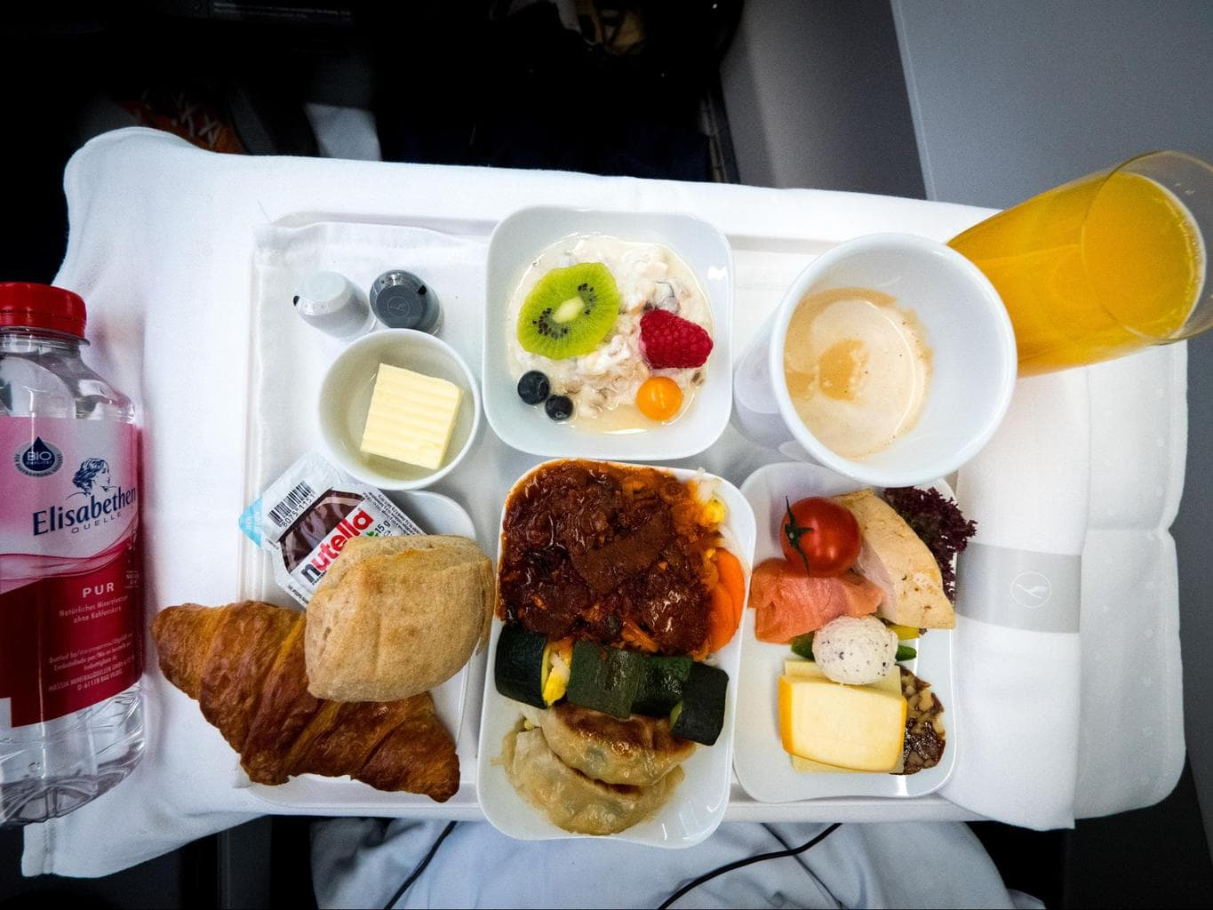 Lufthansa Business Class food - His breakfast