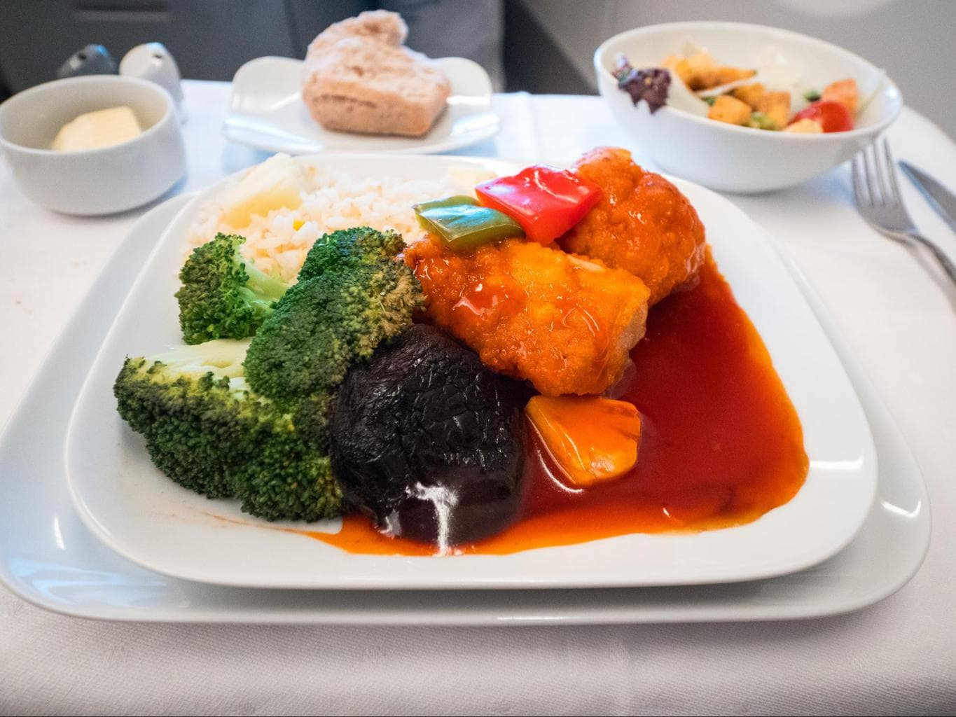 Lufthansa Business Class food - Sweet and sour garoupa